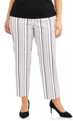 Lifestyle Attitudes Women's Plus Stretch Woven Ivory & Blue Stripe Career Pant