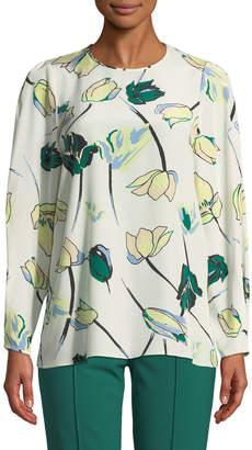 Diane von Furstenberg Floral Silk Cinched-Sleeve Blouse