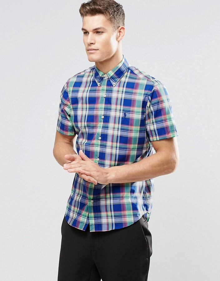 Polo Ralph Lauren Shirt In Poplin Royal Blue Check Regular Fit Short Sleeves