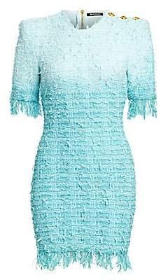 Balmain Women's Fringed Tie-Dye Tweed Dress