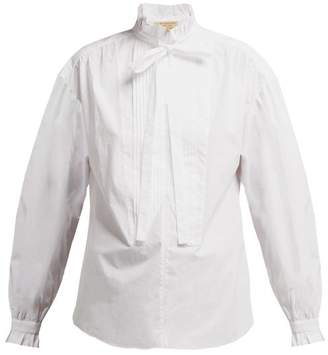 Burberry Jacobin Ruffle Neck Cotton Blouse - Womens - White