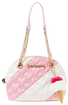 Betsey Johnson Betsey Johnson Split Decision Heart-Quilted Striped Dome Satchel