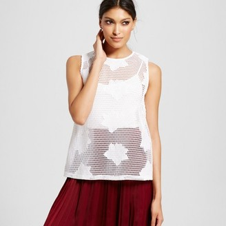 Mossimo Women's Mesh Zip Back Floral Applique Tank Top White - Mossimo $22.99 thestylecure.com