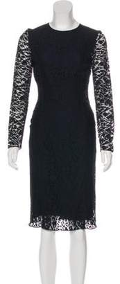 Nina Ricci Lace Long Sleeve Dress Blue Lace Long Sleeve Dress