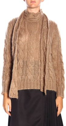 Prada Sweater Turtleneck Pullover In Braided Mohair Wool With Bow