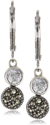 Judith Jack Sterling Cubic Zirconia with Marcasite Pave Mini Drop Earrings