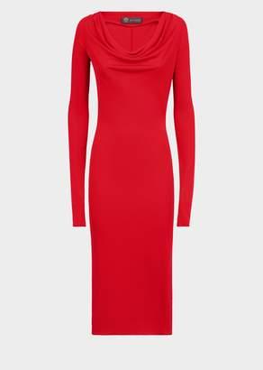 Versace Long Sleeve Hooded Midi Dress