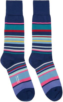 Paul Smith Navy Spag Stripe Socks $30 thestylecure.com
