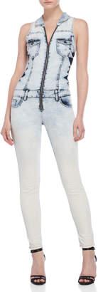 Vip Jeans Bleached Denim Jumpsuit