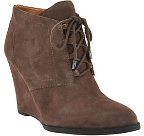 Franco Sarto Suede Lace-up Wedge Ankle Boots -Lennon