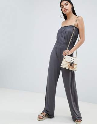 Asos DESIGN Bandeau Jersey Jumpsuit With Wide Leg