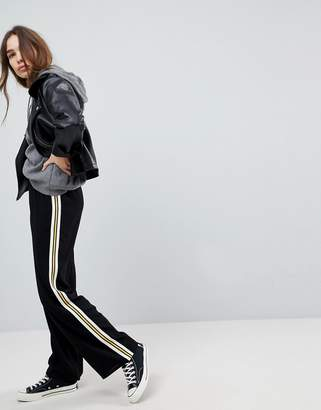 Asos Tailored Soft Wide Leg Track Pant with Tape Trim