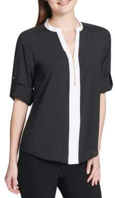 Calvin Klein Split Neck Roll-Sleeve Top