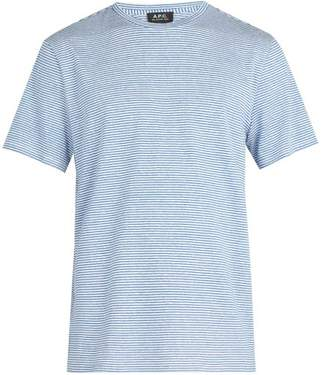 A.P.C. Jimmy Fine Stripe Linen Blend T Shirt - Mens - Blue Multi