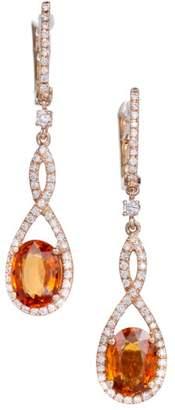 14K Rose Gold Diamond Spessartite Garnet Dangle Earrings