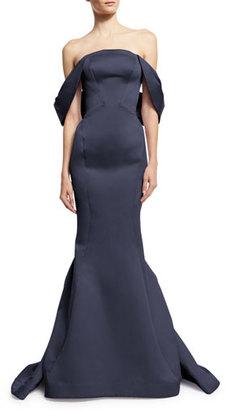 Zac Posen Draped-Shoulder Mermaid Gown, Navy $4,990 thestylecure.com