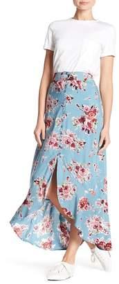 Angie Front Button Floral Ruffle Skirt