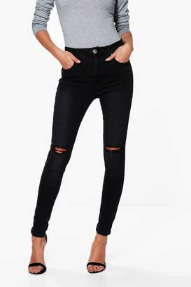 boohoo Jessie High Rise Distressed Skinny Jeans