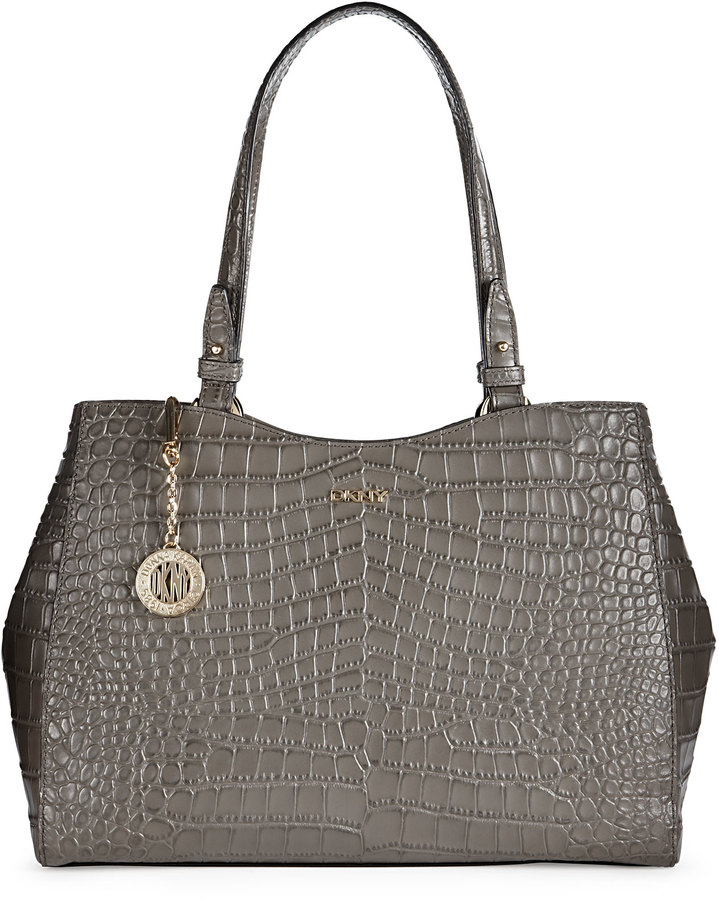 Croc-Printed Leather Large Shopper