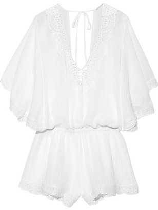 Eberjey - Liberty Crochet-trimmed Cotton-gauze Playsuit - White $170 thestylecure.com