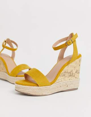 New Look strappy espadrille wedge sandal in dark yellow