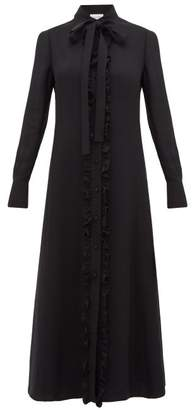 Valentino Pussybow Ruffled Front Cady Shirtdress - Womens - Black