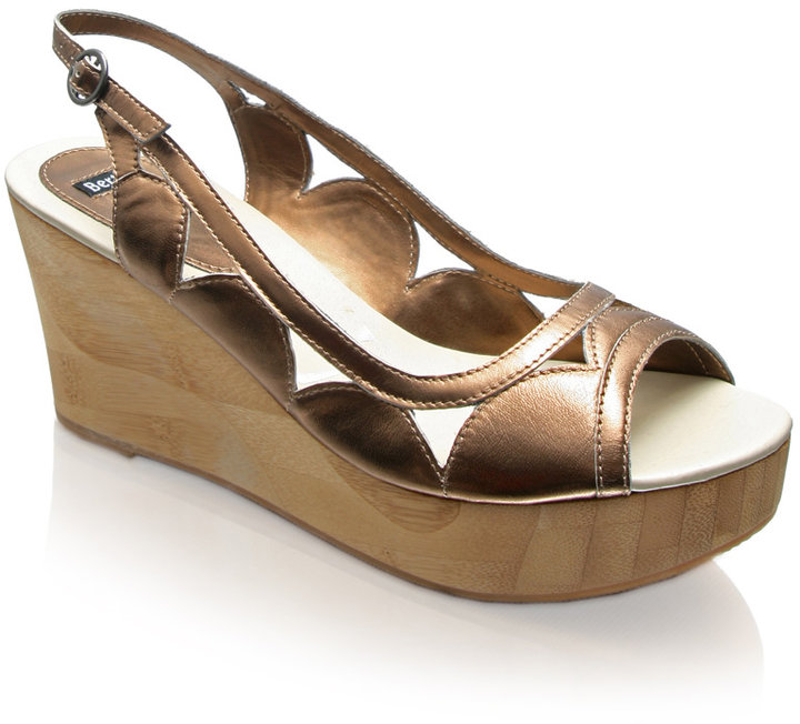 Bertie Bamboo Wedge With Metallic Cut-Out