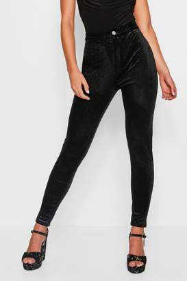 boohoo Stretch Glitter Velvet Disco Jeans