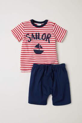 H&M T-shirt and Shorts - Dark blue/Sailor - Kids
