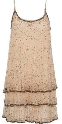 Joie Geddy Tiered Embellished Tulle Mini Dress