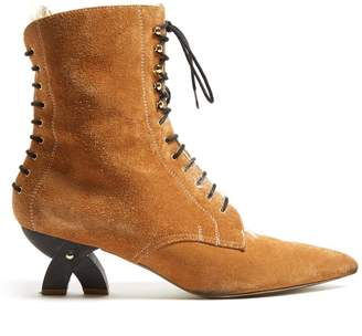 Cross-heel lace-up suede ankle boots