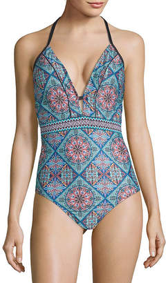 Laundry by Shelli Segal One-Piece Printed Plunging Swimsuit