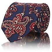 Fairfax Men's Paisley Silk Faille Necktie - Navy