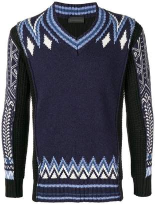 Diesel Black Gold intarsia V-neck sweater