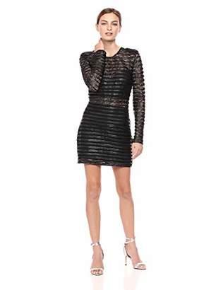 Elliatt Women's Apparel Women's Cyanite Faux Leather & Lace Longsleeve Mini Dress