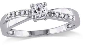 Miabella 1/3 Carat T.G.W. Created White Sapphire and Diamond-Accent Sterling Silver Cross-Over Engagement Ring