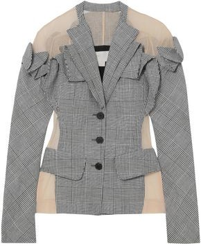 Antonio Berardi Tulle-Paneled Checked Wool Linen And Silk-Blend Blazer