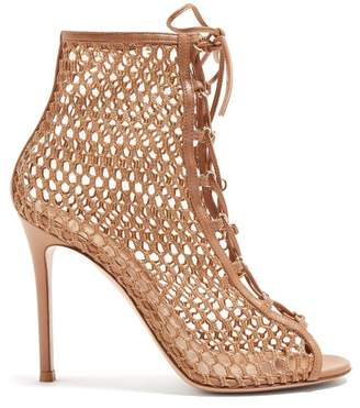 Gianvito Rossi Cage 105 Mesh And Leather Ankle Boots - Womens - Nude