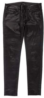The Kooples Leather-Accented Low-Rise Pants