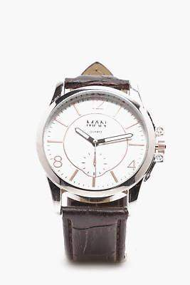 boohoo NEW Mens Classic Watch in Silver size One Size