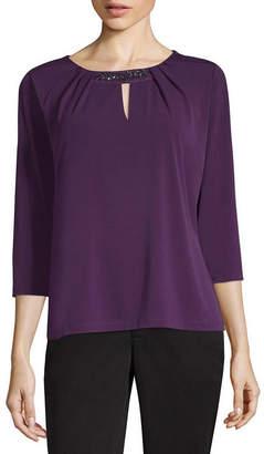 Liz Claiborne 3/4 Sleeve Keyhole Neck Knit Blouse-Petite