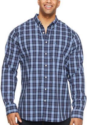 Izod Tall Slim Premium Essential Woven-Plaid Long Sleeve