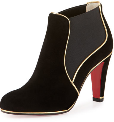Christian Louboutin Christian Louboutin Loulouboot Suede 85mm Red Sole Ankle Boot, Black/Gold