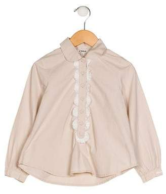 Chloé Girls' Long Sleeve Ruffle-Trimmed Top