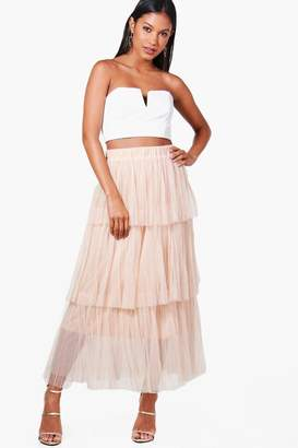 boohoo Poppy Pleated Tulle Layered Midaxi Skirt