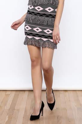 ENGLISH FACTORY Fringe Print Skirt