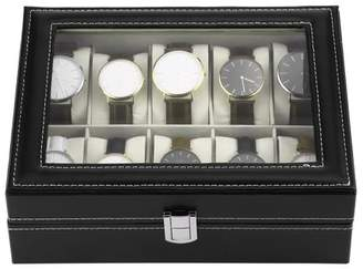 TRYIF Black PU Leather 10 Slots Wrist Watch Display Box Storage Holder Organizer Case