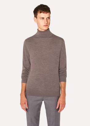 Paul Smith Men's Brown Marl Merino Wool Roll Neck Sweater
