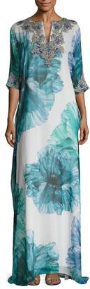 Badgley Mischka Couture Women's Floral Printed Embellished Caftan