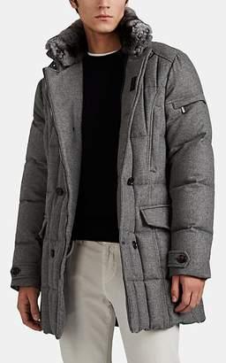 Moorer Men's Morris Fur-Trimmed Down-Quilted Cashmere Coat - Light Gray